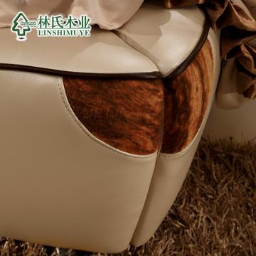 林氏木业真皮-木接触面真皮组装方形简约现代床