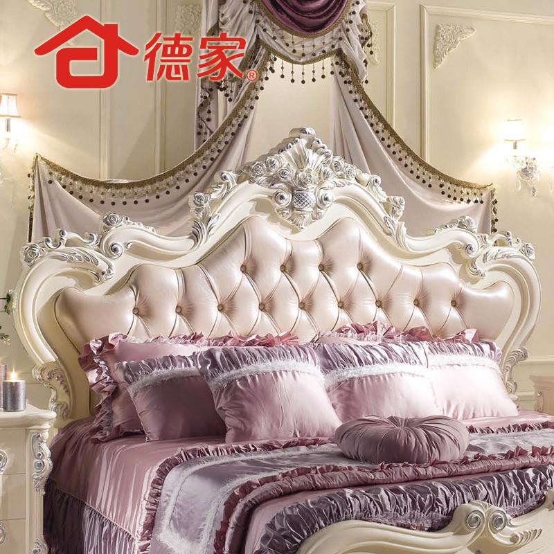 德家橡木框架结构欧式雕刻-双人床#床