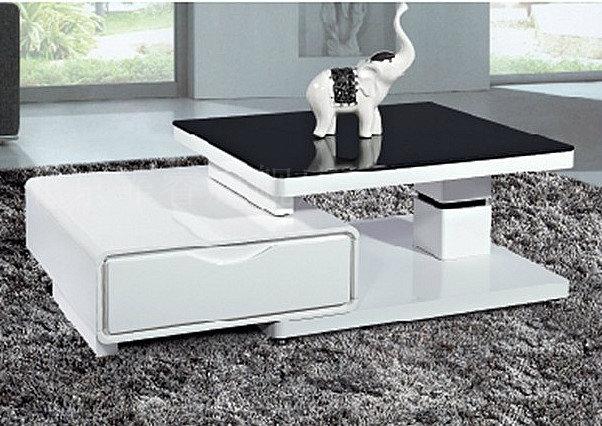霏睿白色双抽屉黑色双抽屉钢化车床密度板纤维板玻璃工艺人造板工艺简约现代茶几