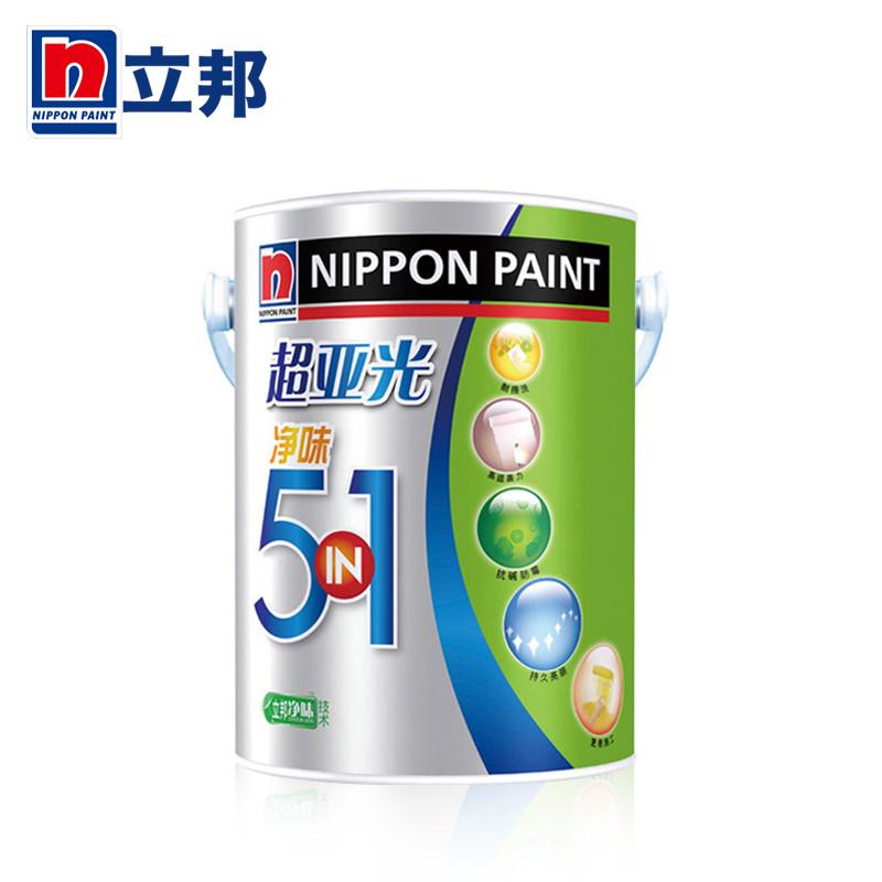 立邦漆 面漆哑光 立邦超亚光净味五合一内墙乳胶漆15L涂料