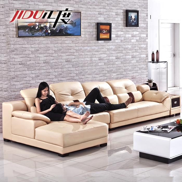 JIDU 几度 接触面真皮L形木质工艺桦木储藏海绵简约现代 A2201沙发