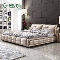 木接触面真皮组装方形简约现代 R62#床