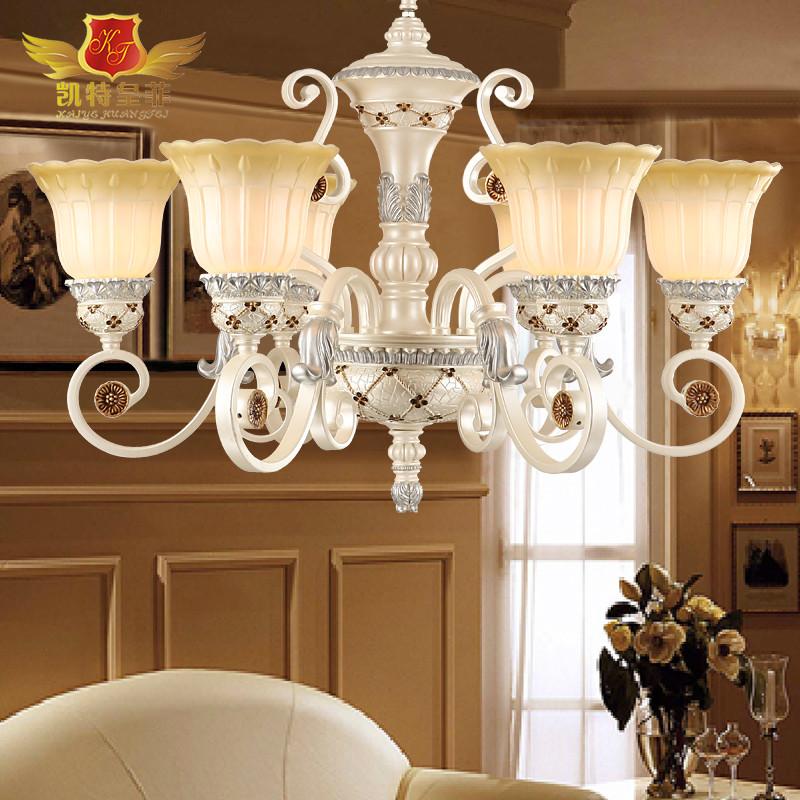 凯特皇菲 玻璃铁树脂欧式镂空雕花白炽灯节能灯led 吊灯