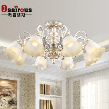 歐塞洛斯 客廳燈鐵水晶玻璃樹脂歐式染色白熾燈節能燈LED 吊燈
