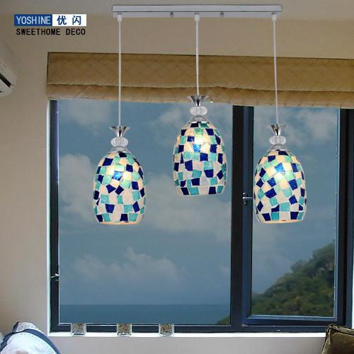 优闪玻璃石膏不锈钢合金手工编织节能灯吊灯