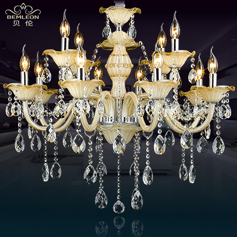 贝伦水晶玻璃欧式热弯白炽灯节能灯吊灯
