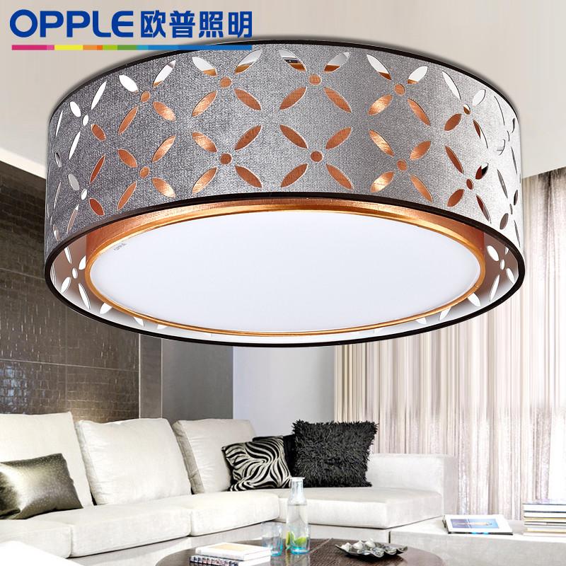 欧普照明布不锈钢简约现代镂空雕花圆形节能灯--菱绡-无光源吸顶灯