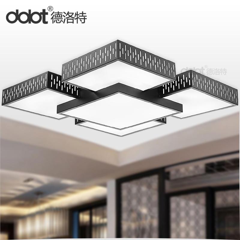 德洛特 有机玻璃铁简约现代喷漆磨砂长方形节能灯LED 吸顶灯