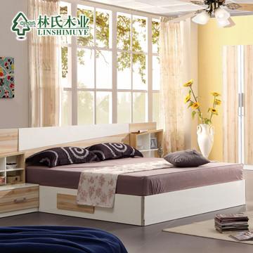 林氏木业密度板纤维板组装式架子-床简约现代床
