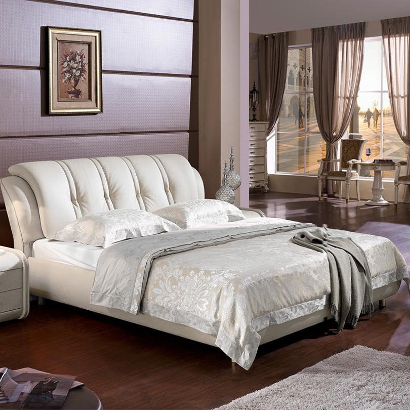圆美 木接触面真皮水洗组装方形简约现代 床