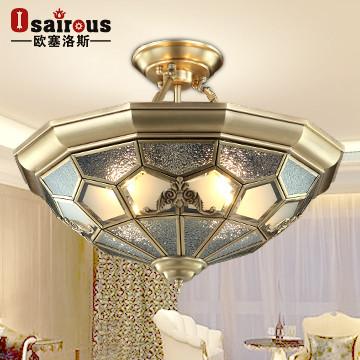欧塞洛斯玻璃铜北欧宜家鎏金白炽灯节能灯吸顶灯