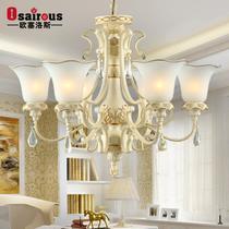 卧室灯铁水晶玻璃树脂田园白炽灯节能灯LED 吊灯