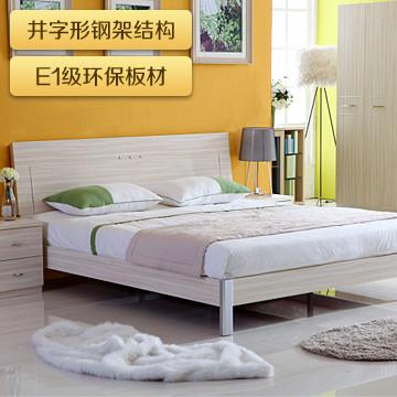 双虎如图(单床)刨花板三聚氰胺板装饰纸饰面拼板组装式架子床简约现代床
