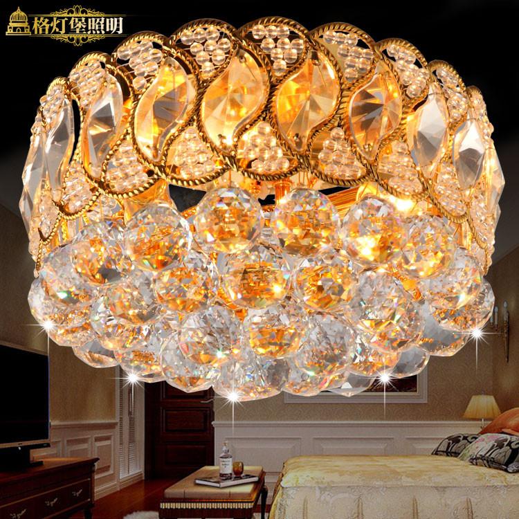 格灯堡水晶铁现代中式电镀圆形白炽灯节能灯吸顶灯