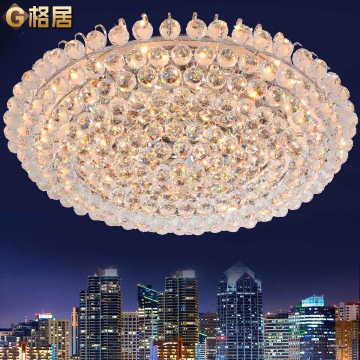 格居水晶铁简约现代镀铬圆形白炽灯节能灯吸顶灯