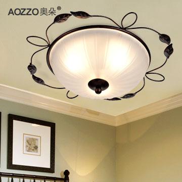 奧朵 玻璃鐵歐式噴漆磨砂圓形白熾燈節能燈 CL20080吸頂燈