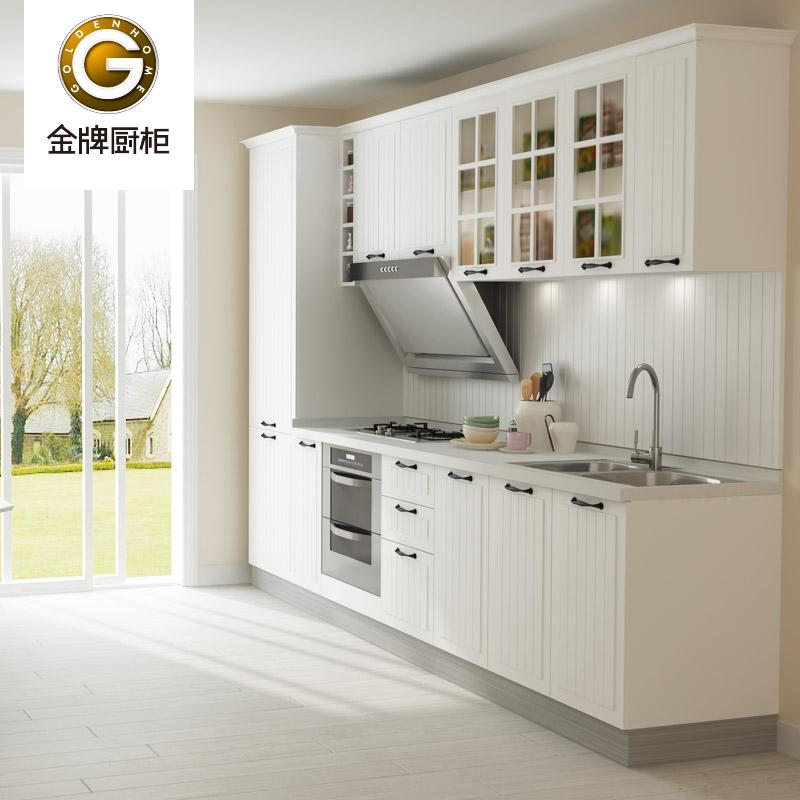 金牌厨柜 古白套餐尾款防潮板人造大理石吸塑板一字形现代风格 橱柜