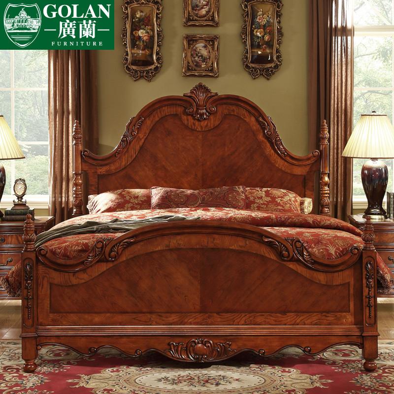 广兰套餐最划算橡胶木美式乡村雕刻床