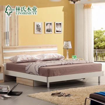 林氏木业带抽屉储物床组装式架子床简约现代床