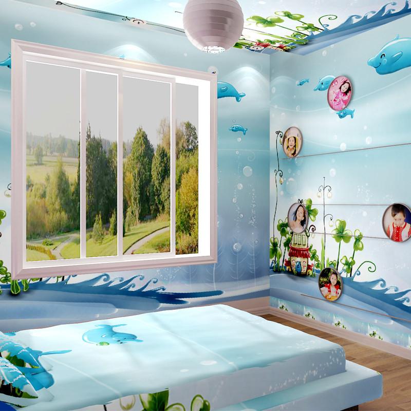 必升辉压花有图案卡通动漫儿童房地中海墙纸