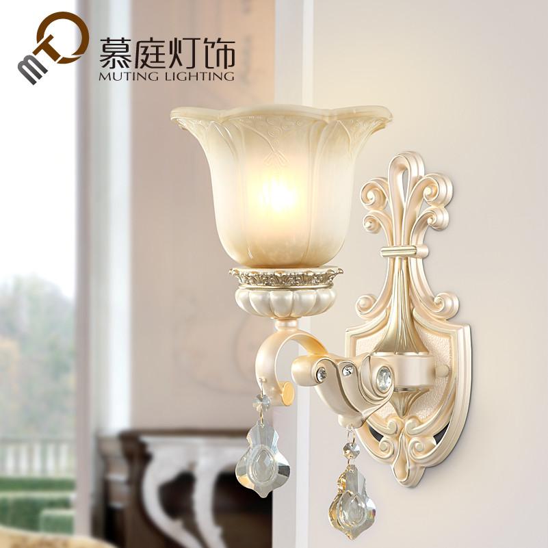 慕庭 玻璃树脂欧式镂空雕花白炽灯节能灯LED 壁灯