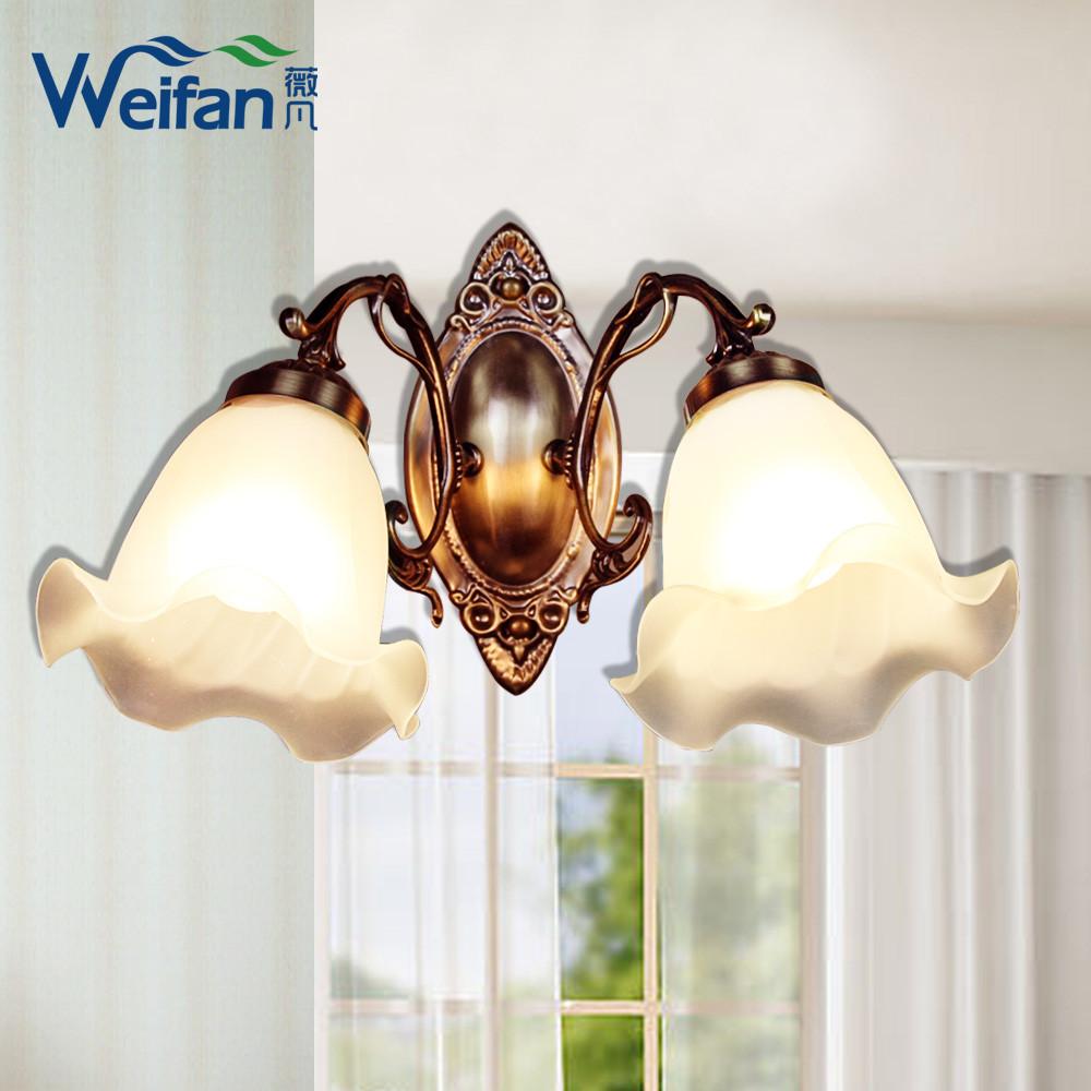 薇凡玻璃合金简约现代镀铬白炽灯节能灯壁灯