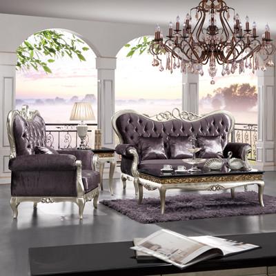 驿路坊可换布料形木质工艺雕刻桦木绒质海绵新古典沙发