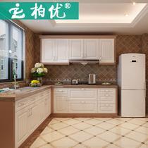 橱柜按延米实木人造大理石柏优模压板L型现代风格 橱柜