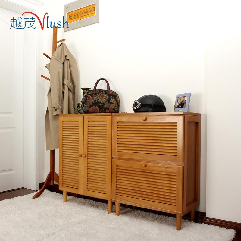越茂 箱框結構泡桐木翻轉翻開門對開門日式 鞋柜