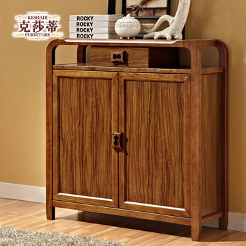 克莎蒂乌金木色框架结构白蜡木储藏对开门现代中式鞋柜