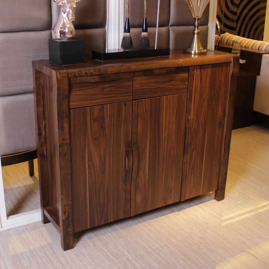 岭林乌金色黑胡桃木色箱框结构橡胶木现代中式鞋柜