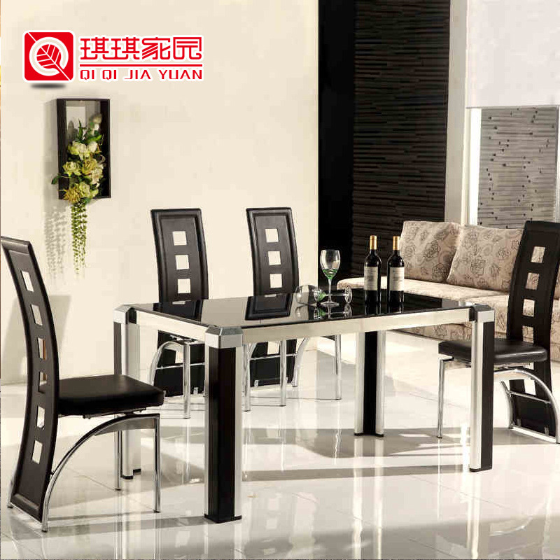 琪琪家园金属散装玻璃支架结构拆装长方形简约现代餐桌
