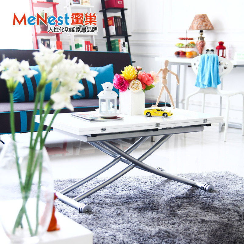 蜜巢哑光白钢琴漆折叠整装框架结构升降长方形简约现代餐桌