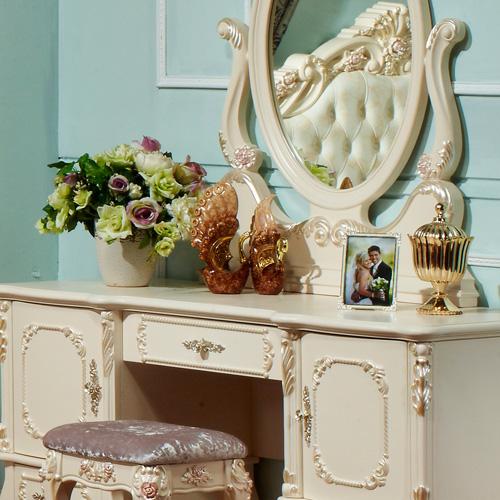 翰普顿 组装喷漆框架结构桦木成人欧式 梳妆台