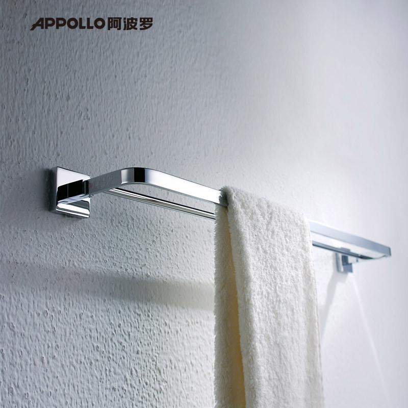 阿波羅 白色銅鍍鉻雙桿 置物架毛巾架