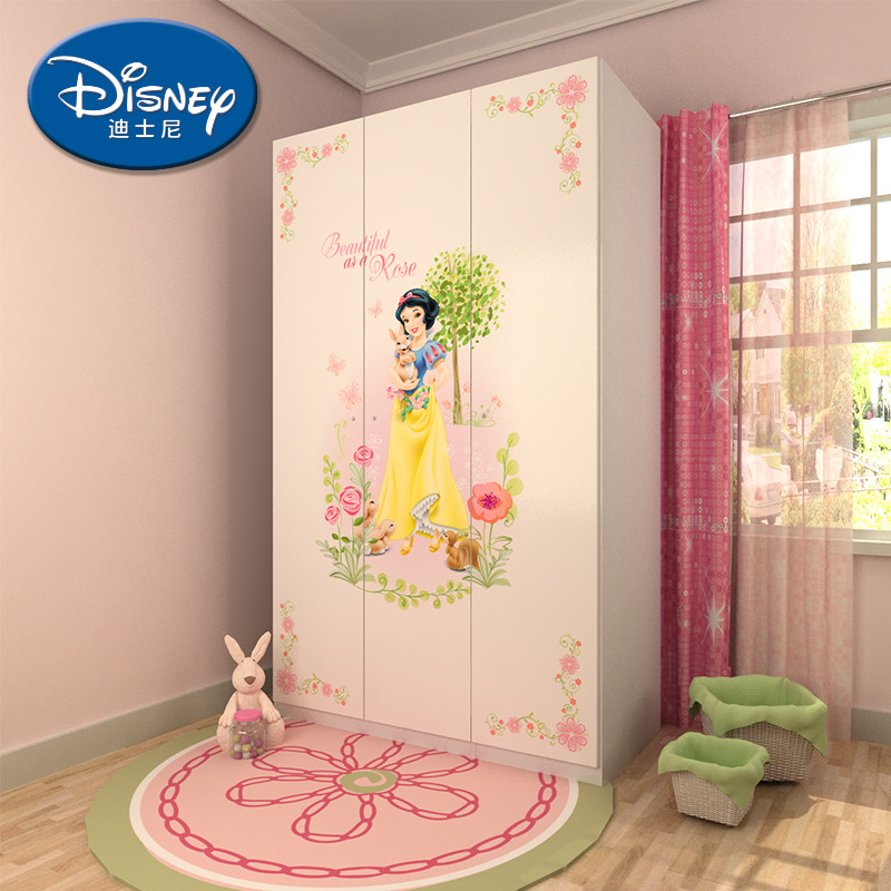 迪士尼人造板麻面刨花板三聚氰胺板储藏平拉门童趣玩具儿童简约现代-衣柜