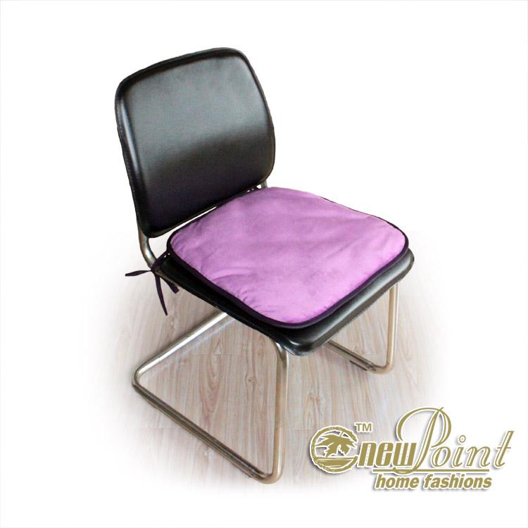 新典紫色珊瑚绒坐垫纯色田园坐垫