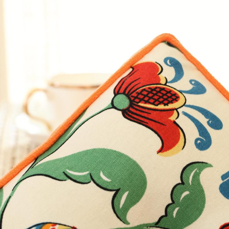 浅米阳光落英缤纷布植物花卉韩式坐垫