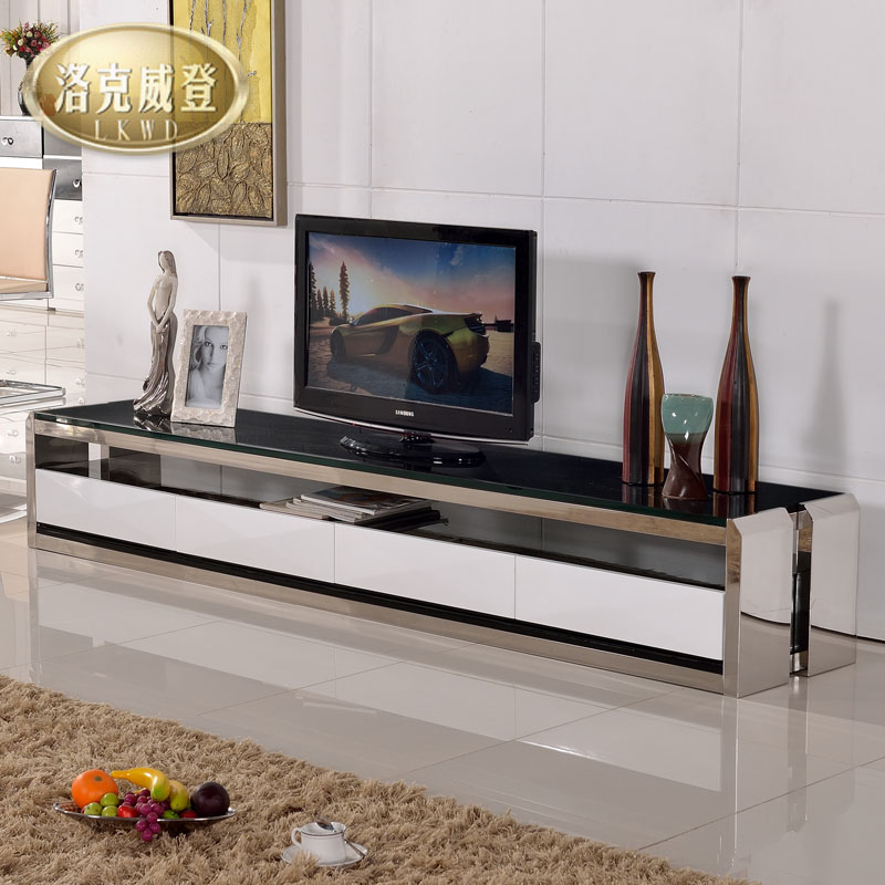洛克威登 金属烤漆不锈钢玻璃箱框结构储藏品牌LOGO成人简约现代 电视柜