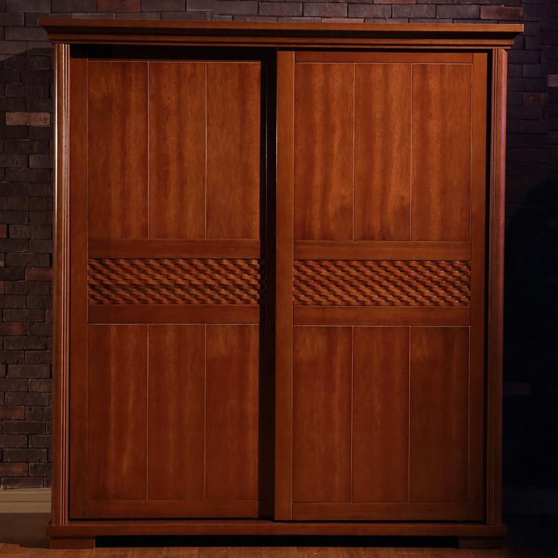 唯克美家 两门移门衣柜海棠木拆装吊滑移门艺术成人东南亚 衣柜