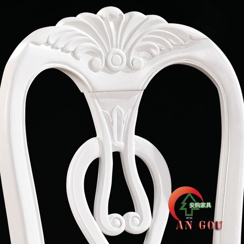 安购象牙白色(两张起售)浮雕实木皮饰面橡木成人欧式餐椅
