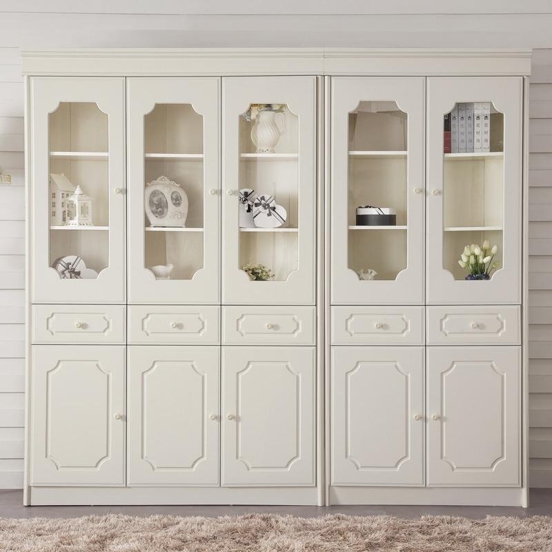 优恋家哑光人造板支架结构橡胶木储藏抽象图案成人韩式书柜