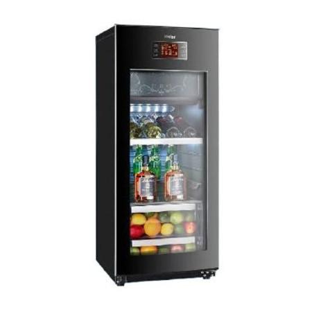 海尔 黑色冷藏冷冻一级变频单门23L143LR600a直冷侧开门LCD显示屏立式展示柜电脑控温 酒柜