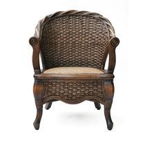 黑擦色植物藤编织/缠绕/捆扎结构移动艺术成人田园 靠背椅