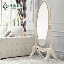仿古白喷金桦木置地圆形欧式 穿衣镜