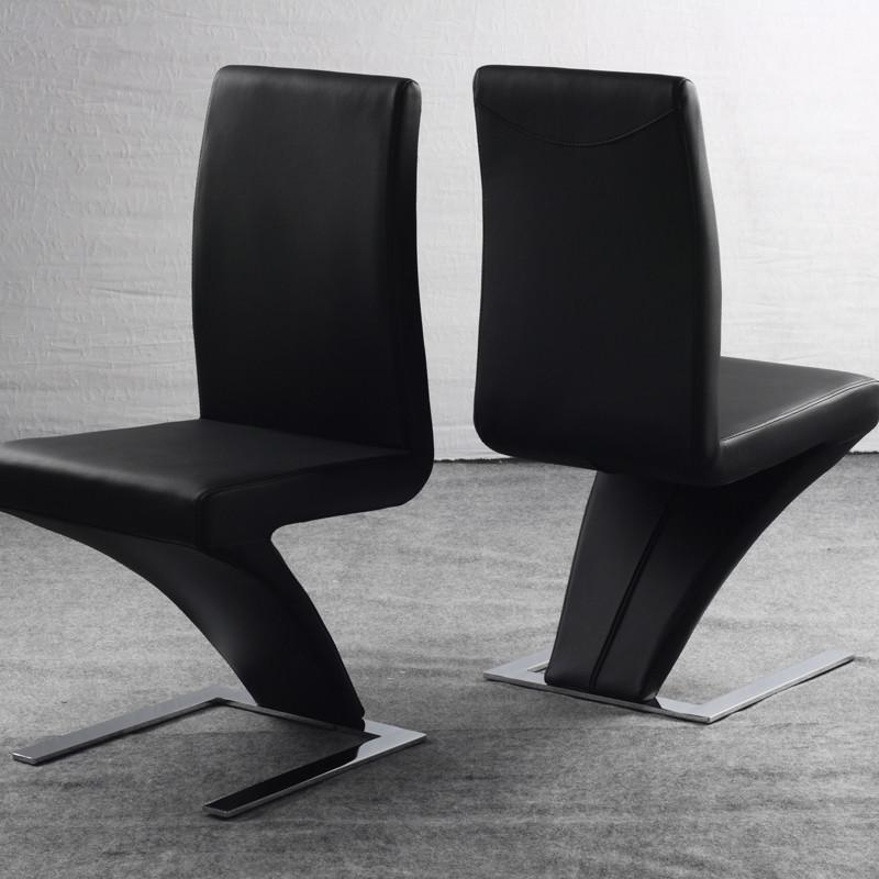 好天气黑色白色金属钢皮革移动成人简约现代餐椅