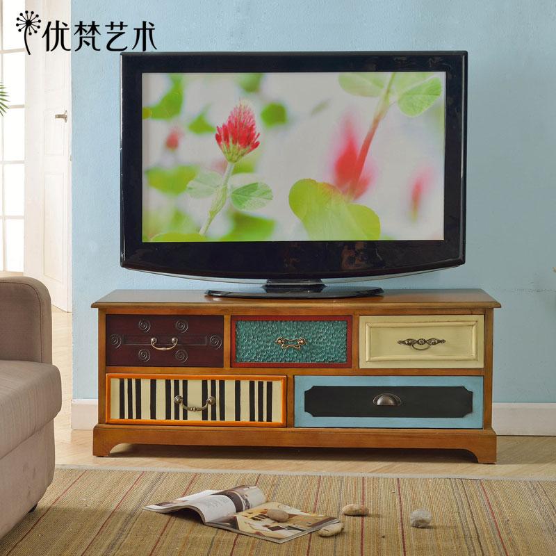 优梵艺术手扫漆框架结构桦木储藏文字成人简约现代电视柜