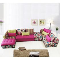 双人三人组合多人L形拉扣木质工艺桦木绒质海绵植物花卉简约现代 沙发