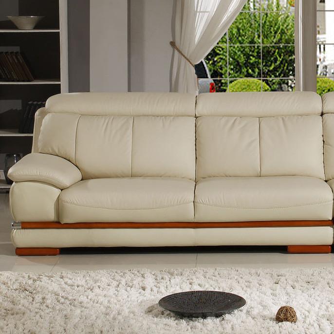 大森林家居接触面真皮形木质工艺车床橡木移动海绵简约现代沙发