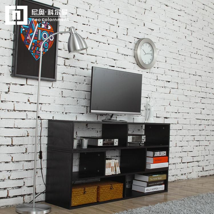 尼奥科尔曼黑橡木瑞典色白浮雕免漆刨花板三聚氰胺板框架结构移动成人简约现代电视柜